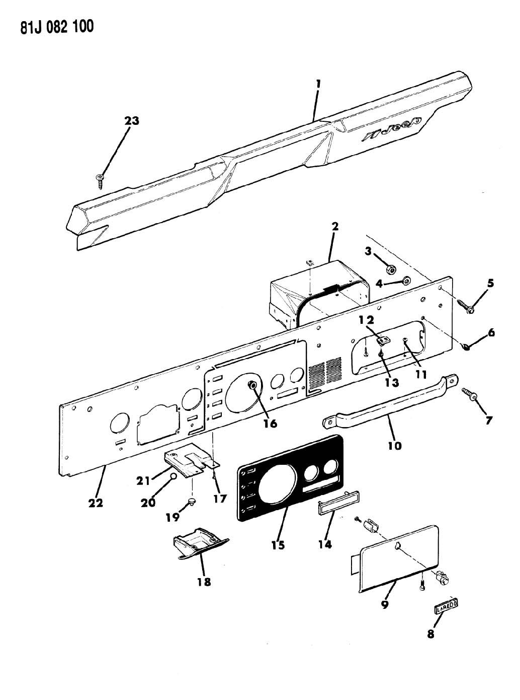 1986 jeep wrangler instrument panel pad and bezels cj