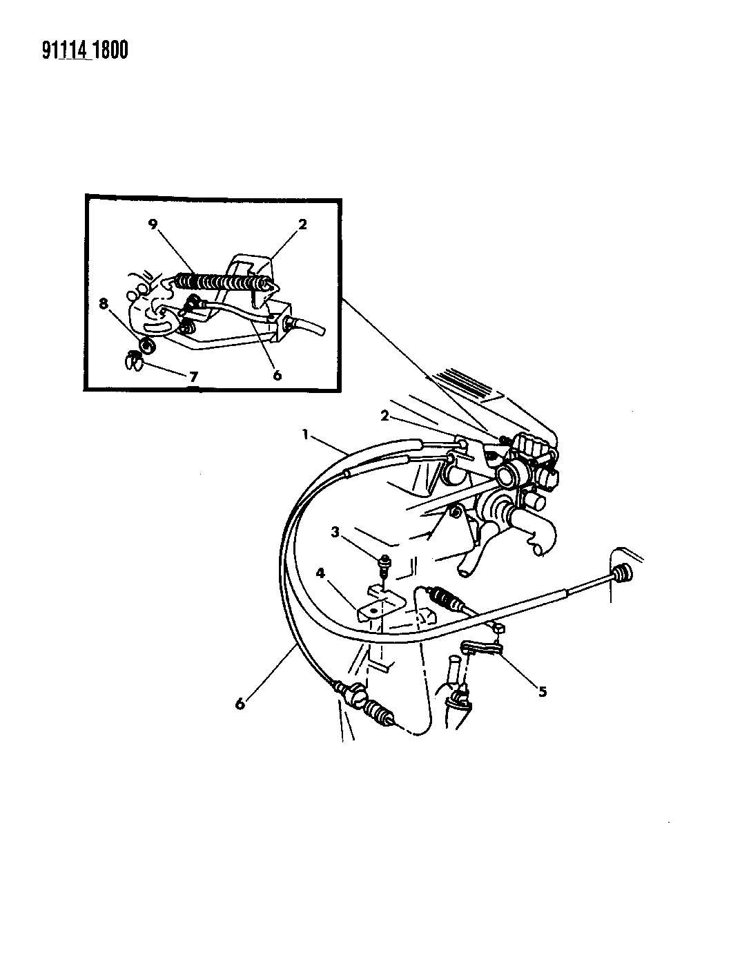 1991 dodge shadow throttle controls 2 5l engine