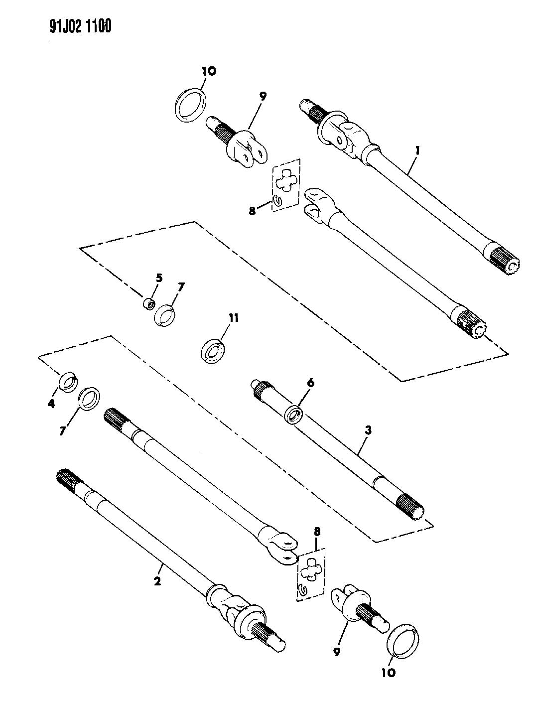 1993 jeep wrangler shafts  front axle w  disconnect