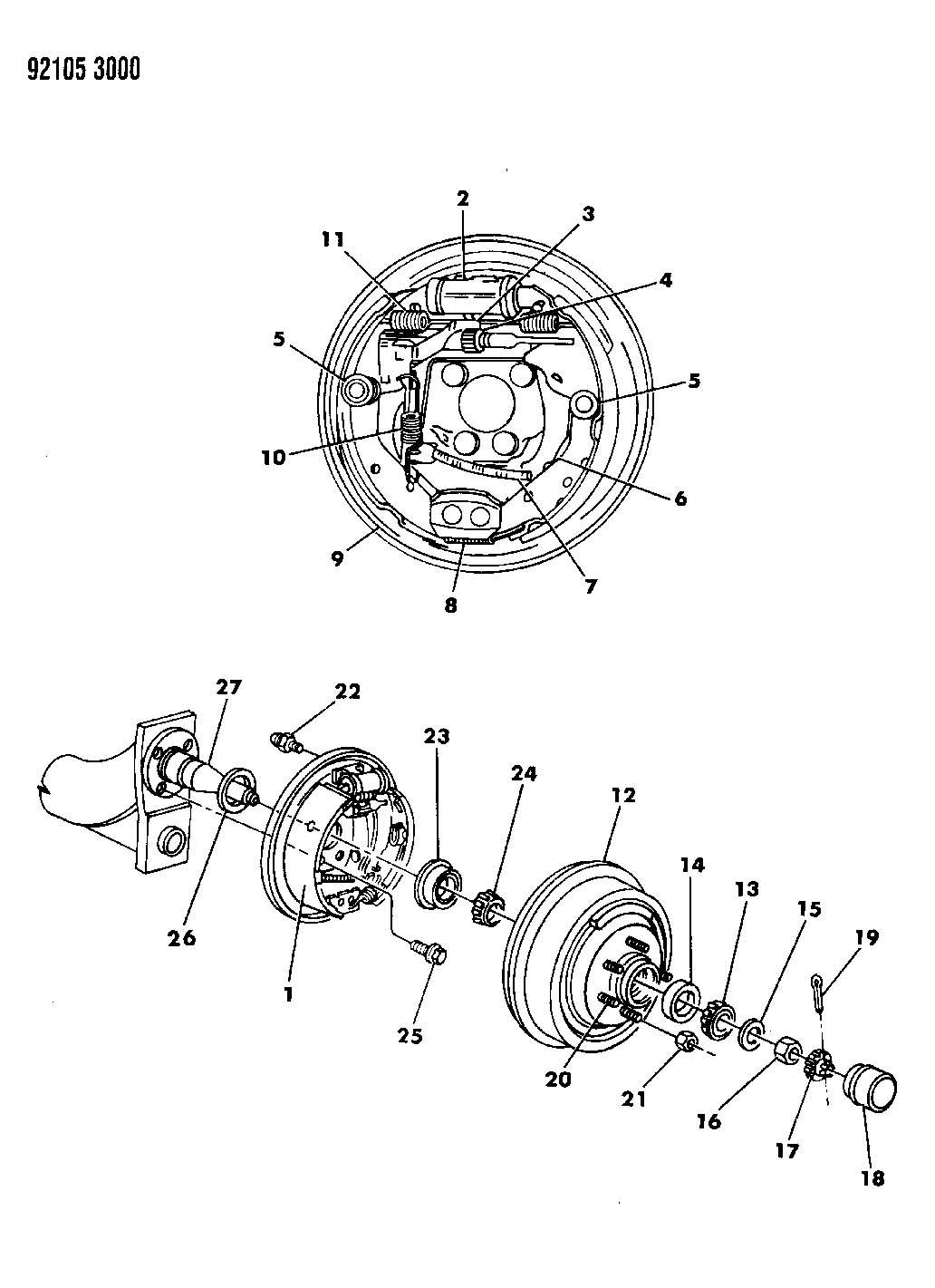 1992 dodge shadow brakes  rear drum p body