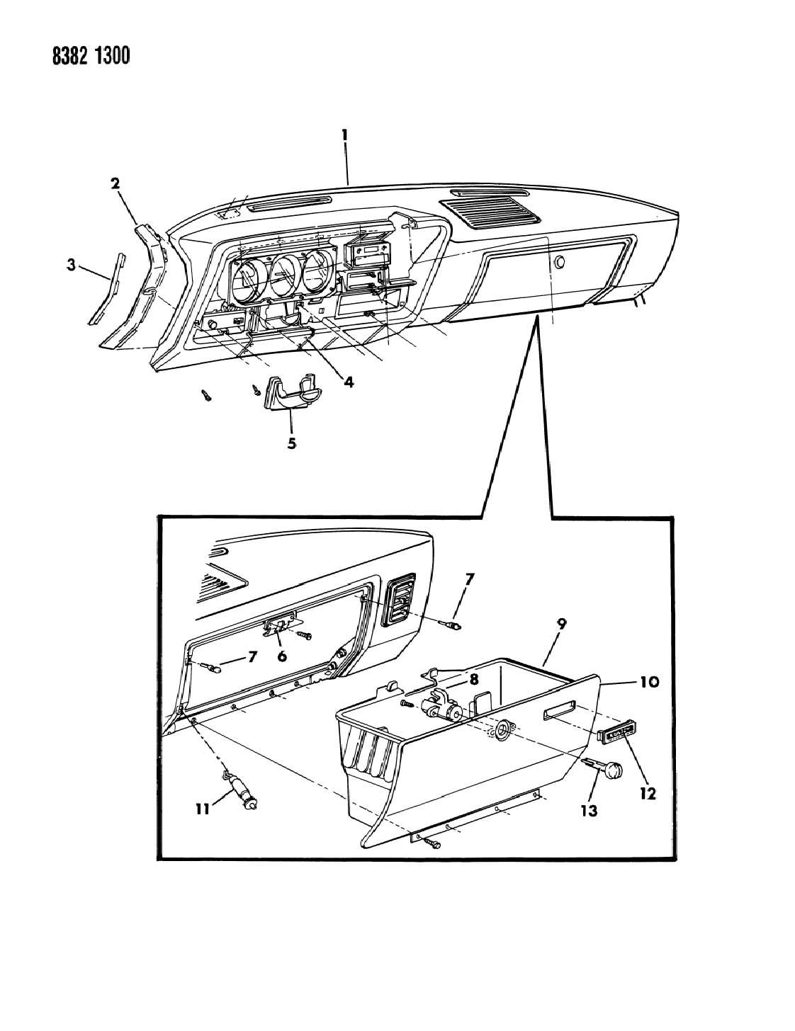 1988 dodge ram 150  250  350 instrument panel panel and