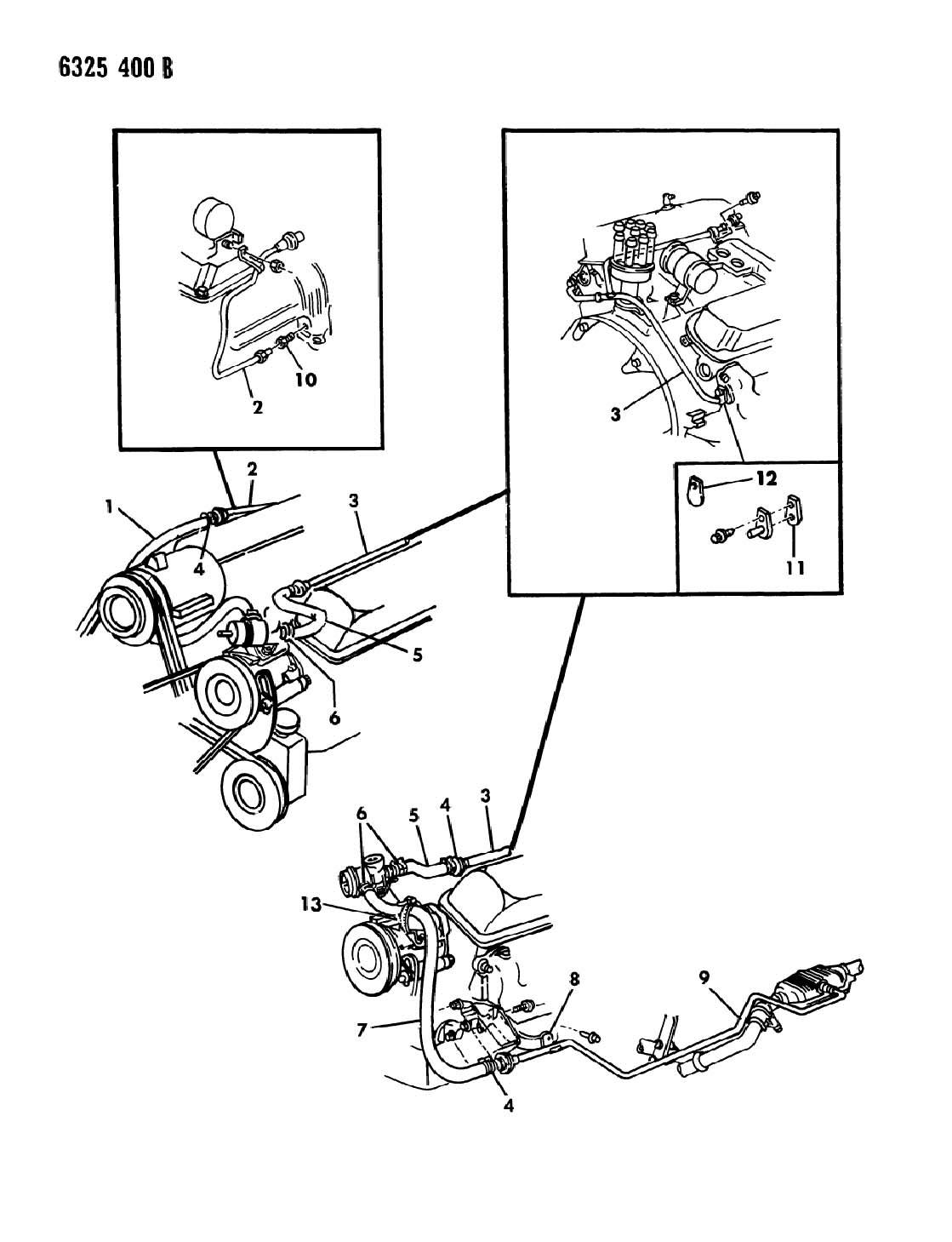 1987 dodge ram van ram wagon air pump tubing 318