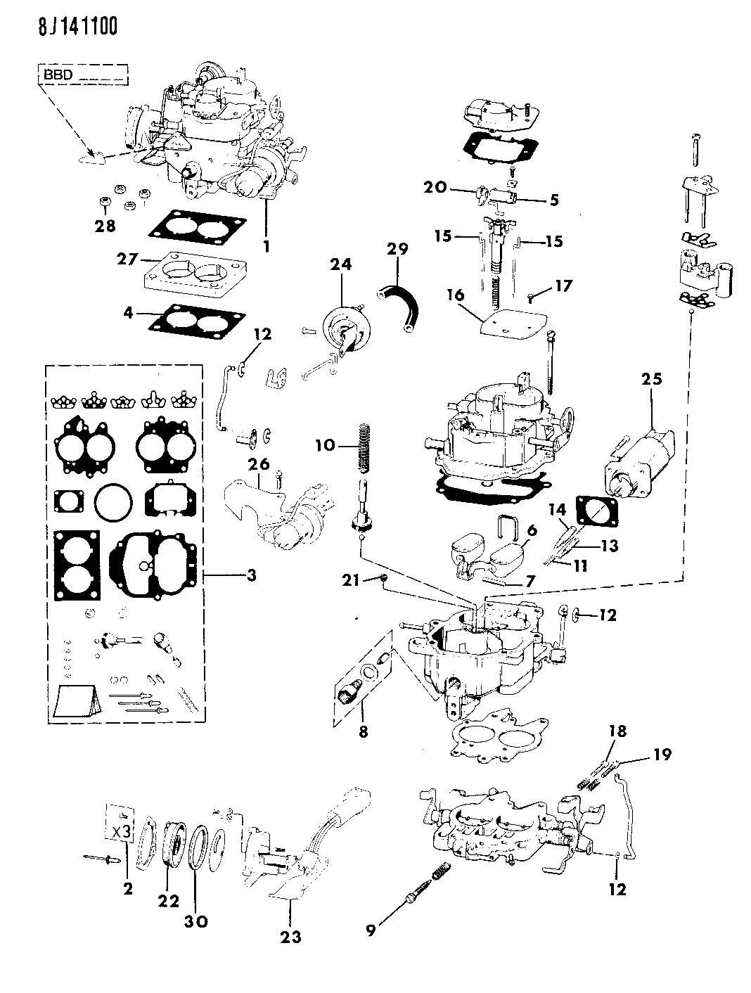 Wrangler 4 2 Engine Diagram Schematics Wiring Diagrams Jeep Cylinder 1989 Carburetor And Component Parts 2l 24 Dodge