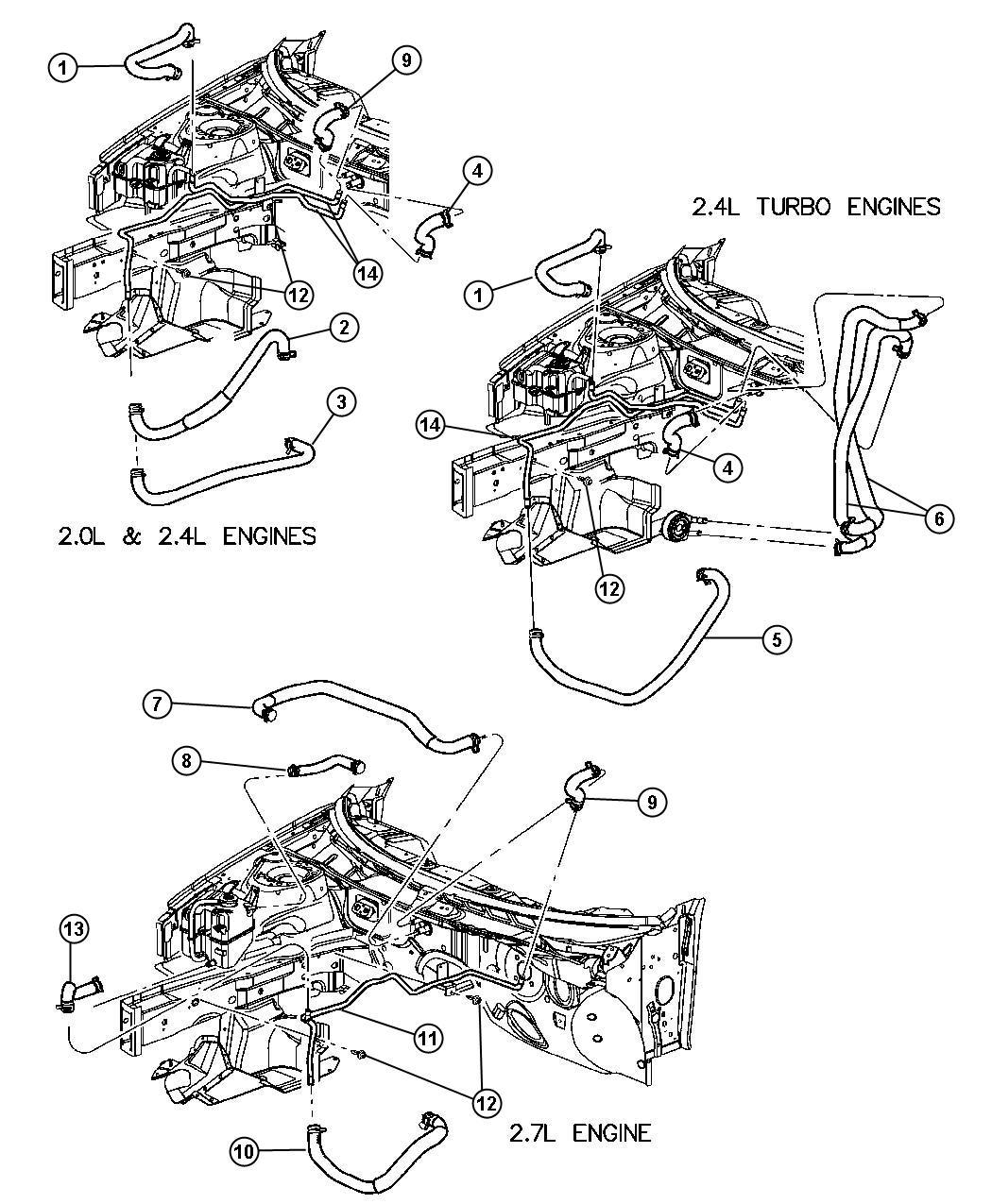 2001 Chrysler Sebring Plumbing  Heater