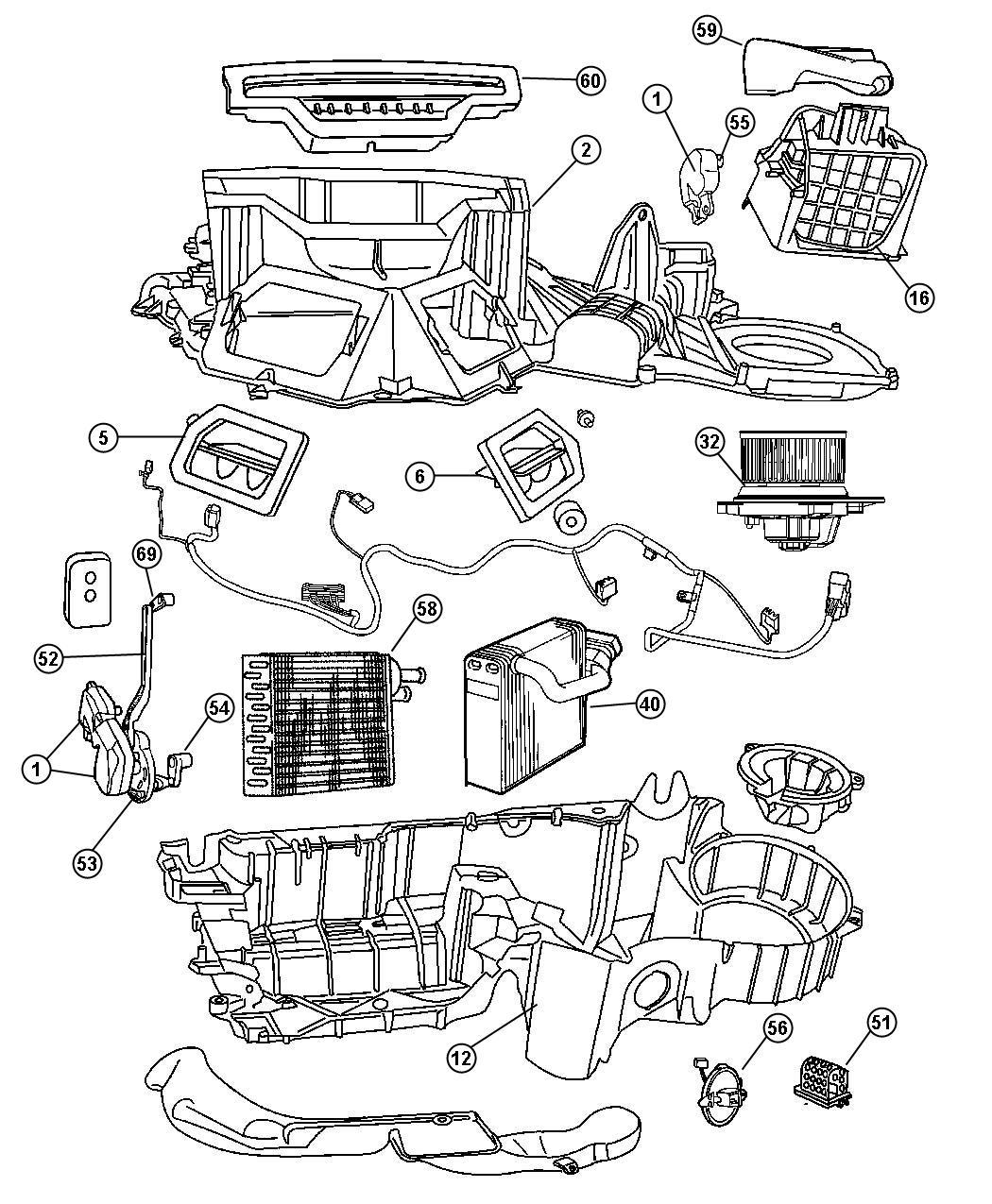 2004 dodge dakota heater and air conditioning unit