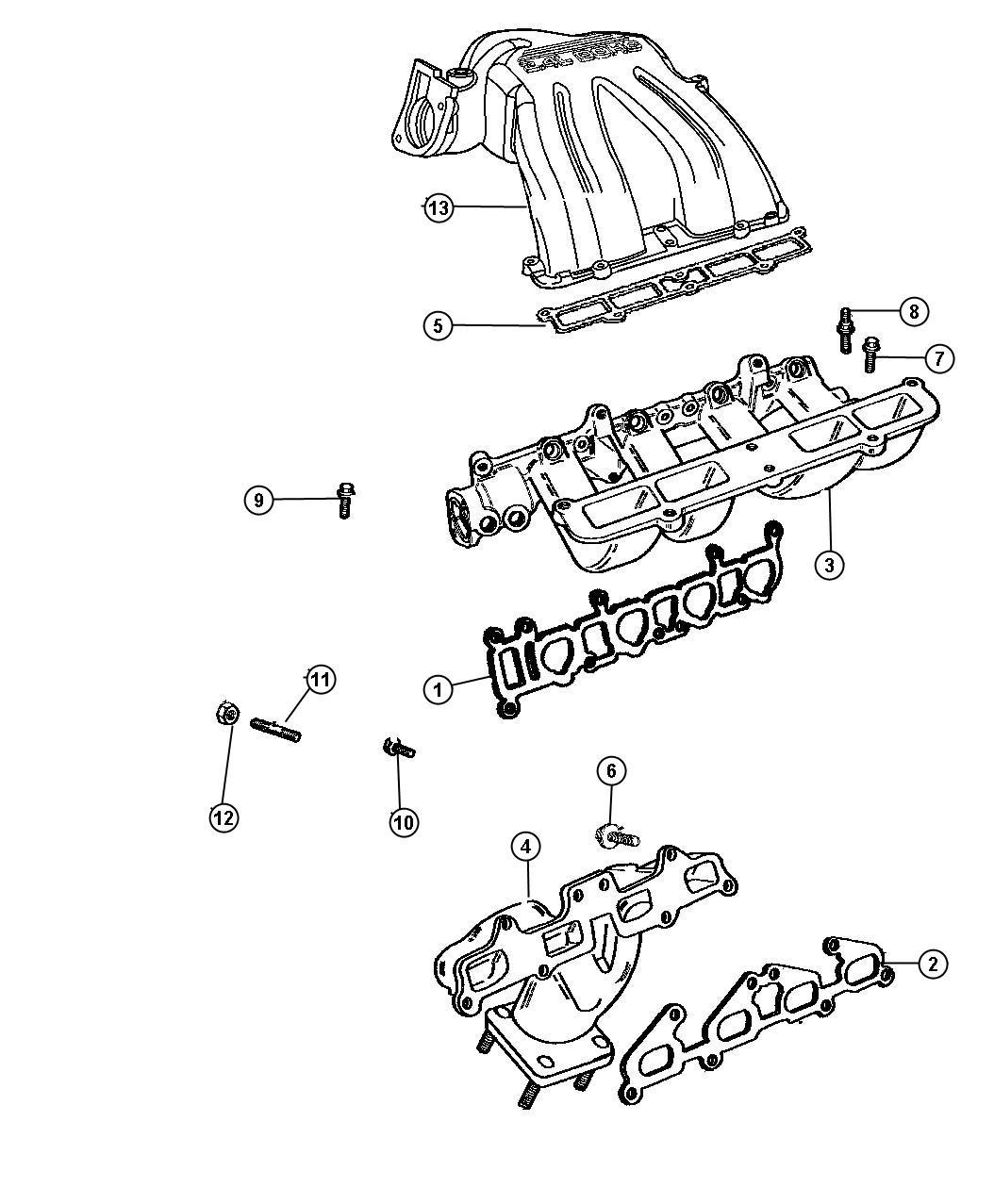 Oem Dodge Caravan Right Exhaust Manifold 4448909: 2005 Dodge Caravan Manifolds, Intake And Exhaust 2.4L [EDZ]