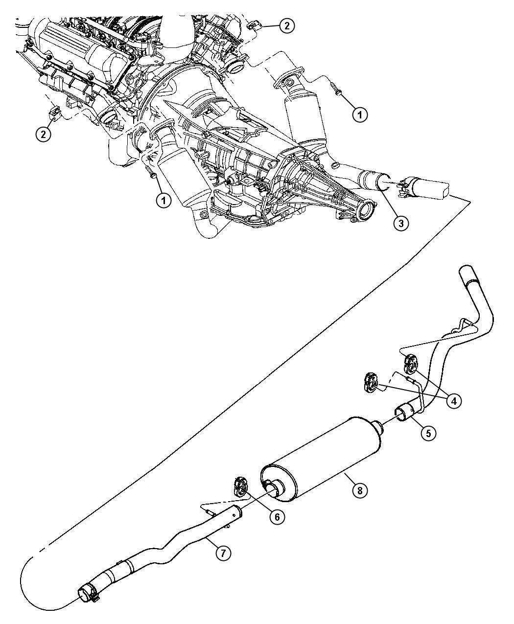 dodge dakota exhaust system diagram