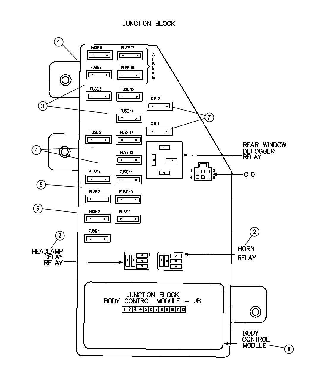 chrysler sebring sedan 2 7l v6 dohc 24 valve mpi  4-spd  automatic junction block