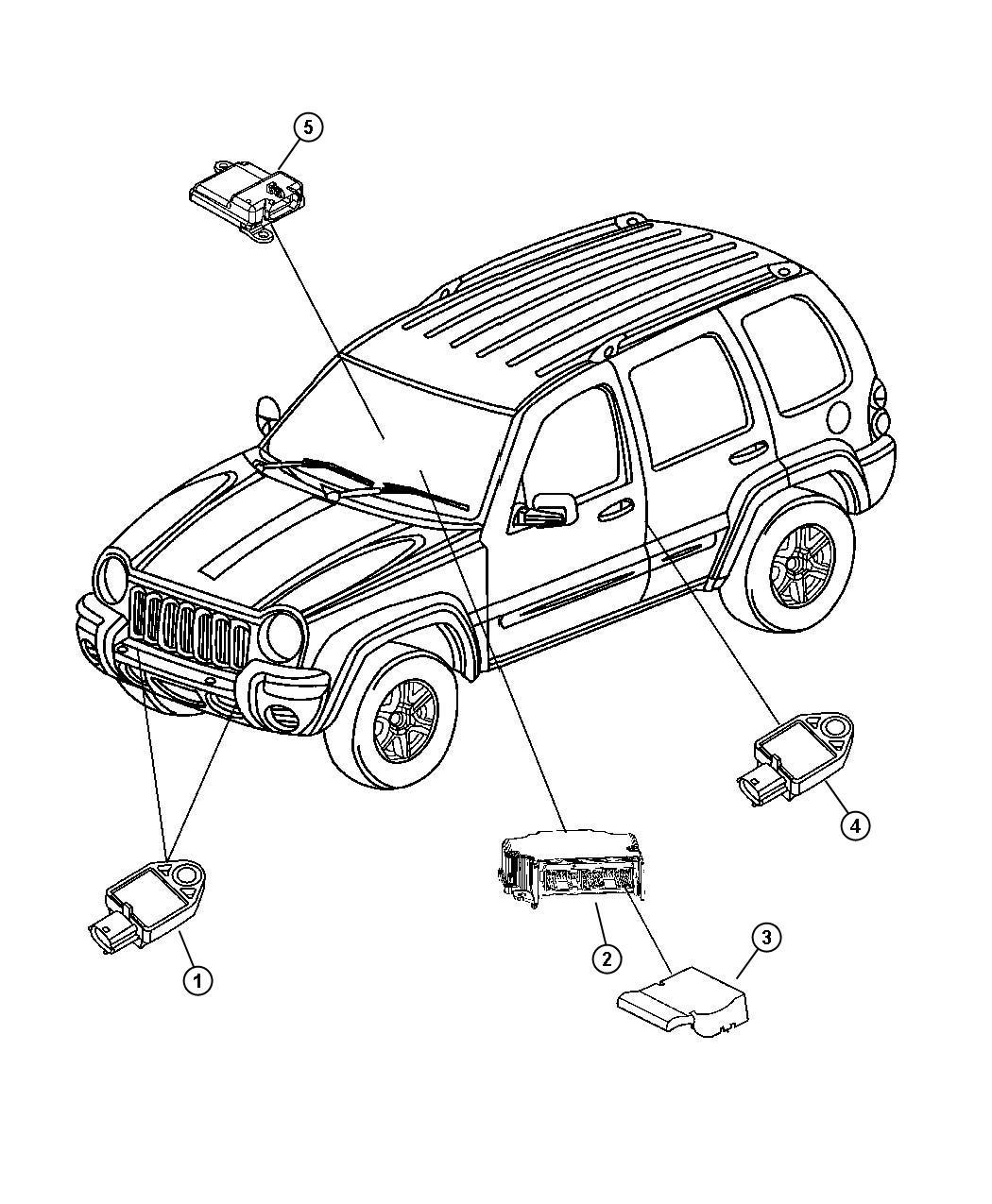 2005 Jeep Liberty Air Bag Module And Sensors