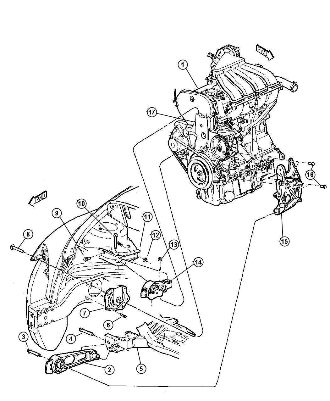 Chrysler Pacifica Engine Diagram Ac Circuit And 2006 Wiring For Discover Your Pt Cruiser Transmission Mount Location
