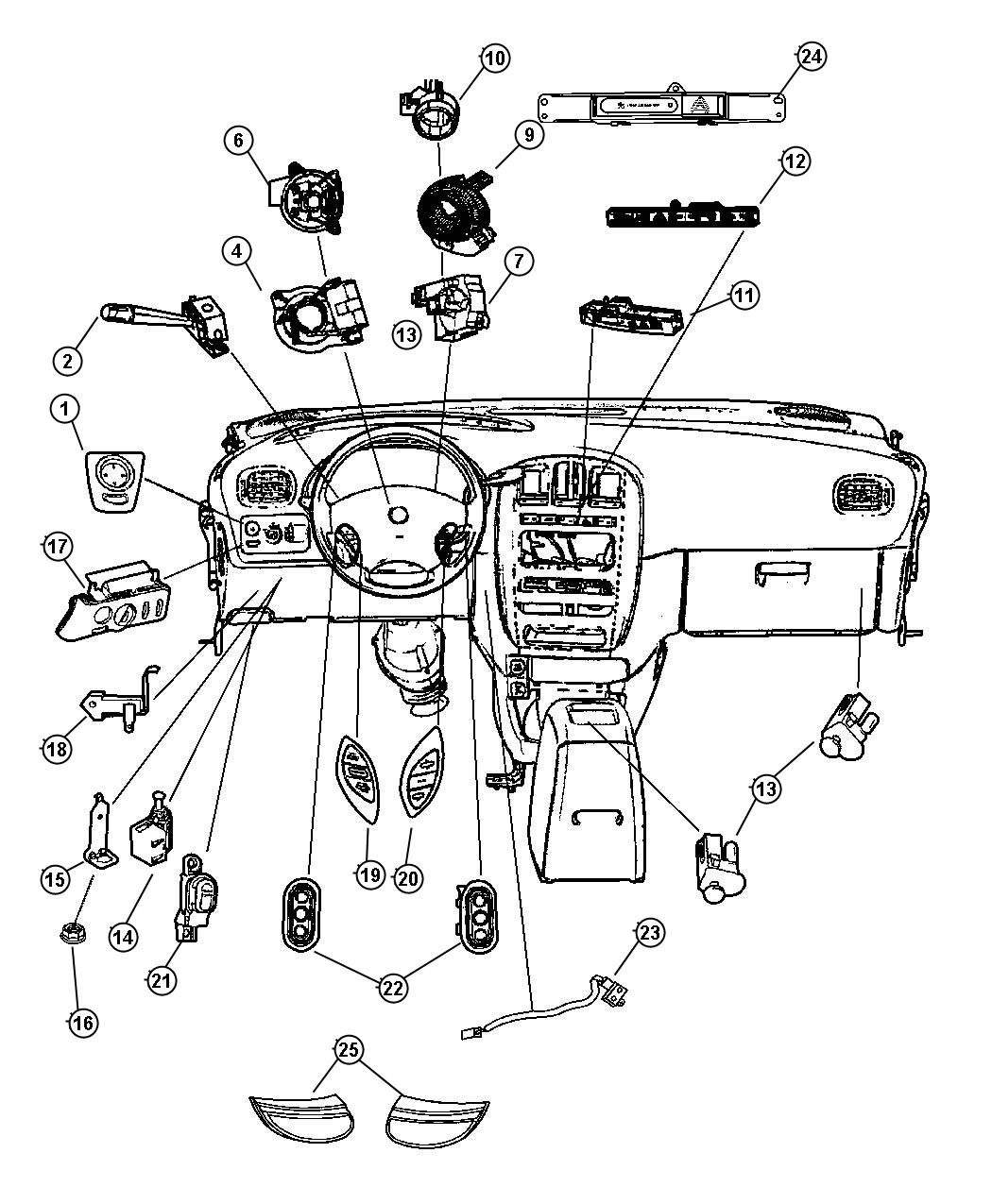 2006 chrysler town  u0026 country switches  instrument panel