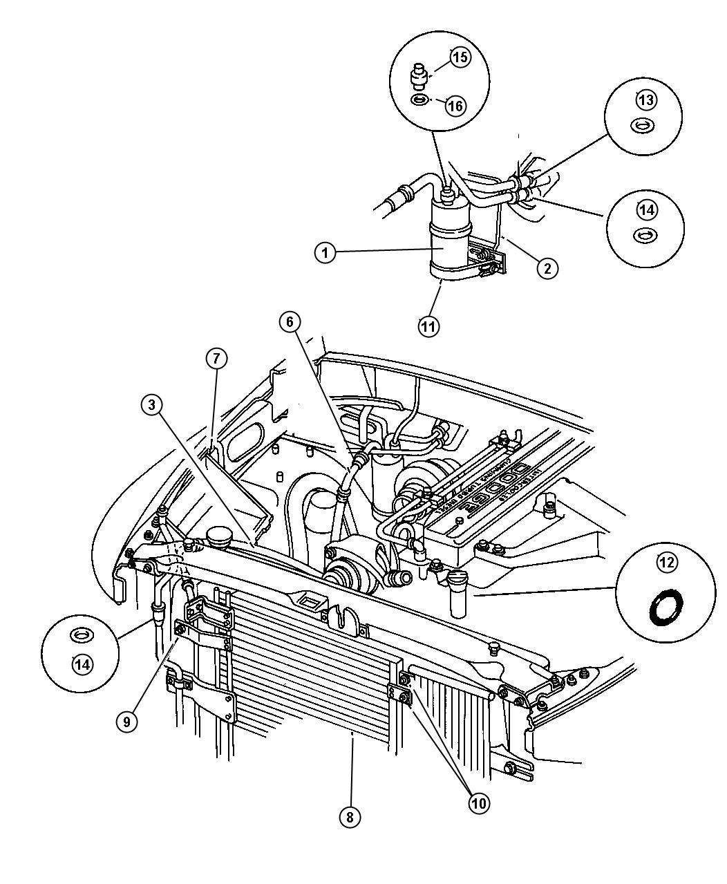 2000 dodge ram 1500 plumbing  air conditioning diesel engine