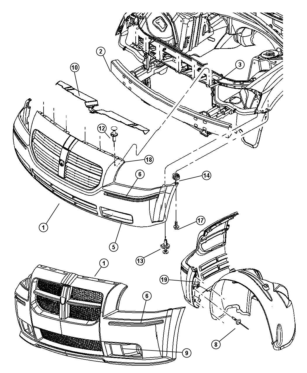Dodge Caliber Front Bumper Diagram on wiring harness for dodge caravan