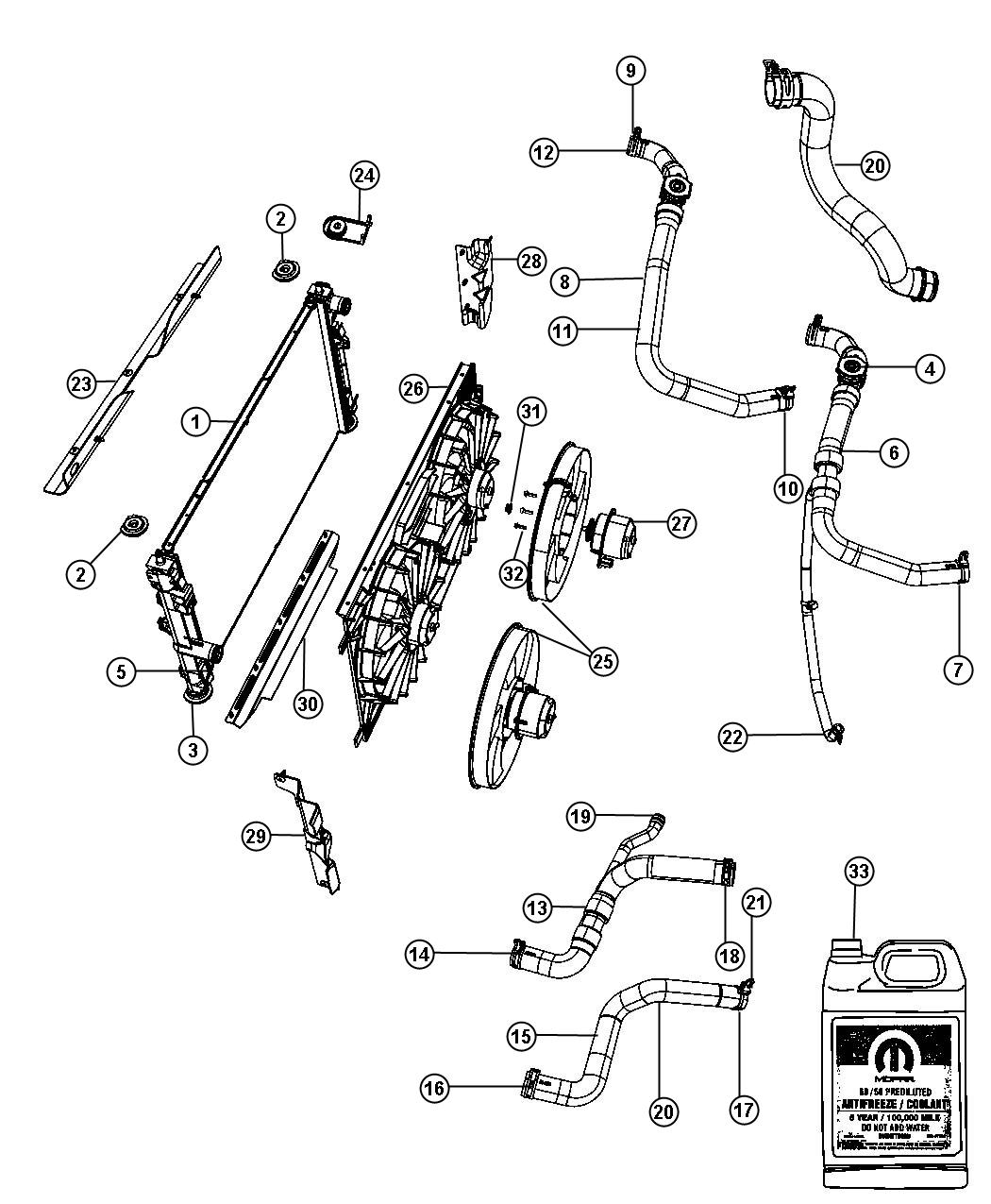 2012 dodge caliber radiator and related parts