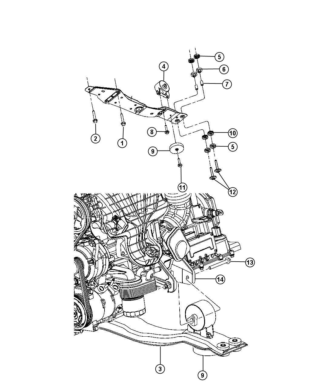 2013 chrysler 200 engine mounting front fwd 3 6l erb. Black Bedroom Furniture Sets. Home Design Ideas